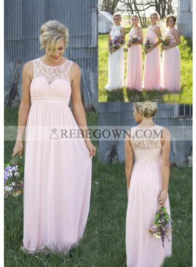2020 Cheap A Line Chiffon Pink Lace Long Bridesmaid Dresses / Gowns