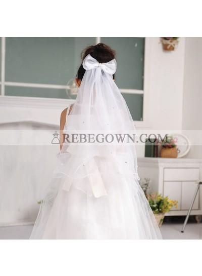 White Butterfly Princess Veil First Holy Communion Veil Flower Girl Veil Custom Made Girl's Veil