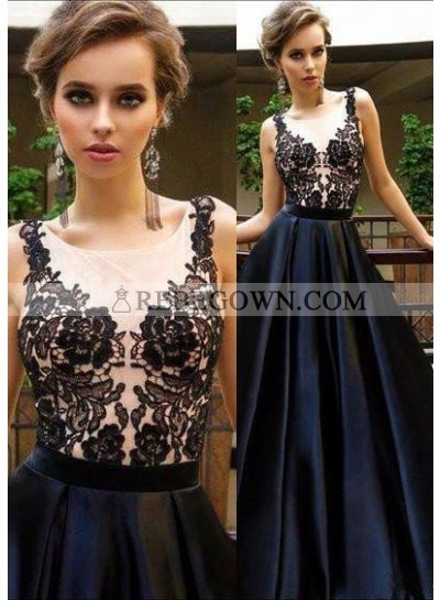 2020 Junoesque Black Round Neck Appliques A-Line Satin Prom Dresses