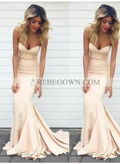 Sweetheart Sweep Train Mermaid Satin Chiffon Prom Dresses