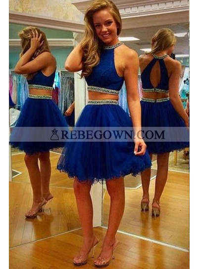 rebe gown 2020 Blue Elegant Beading Halter Tulle Two Pieces Prom Dresses
