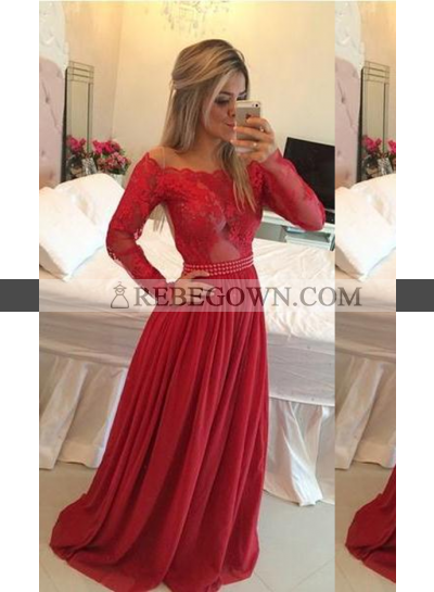 2020 Gorgeous Red Beading Appliques Off-the-Shoulder Chiffon Prom Dresses