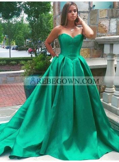 Elegant Sweetheart A-Line Sweep Train Satin Hunter Prom Dresses