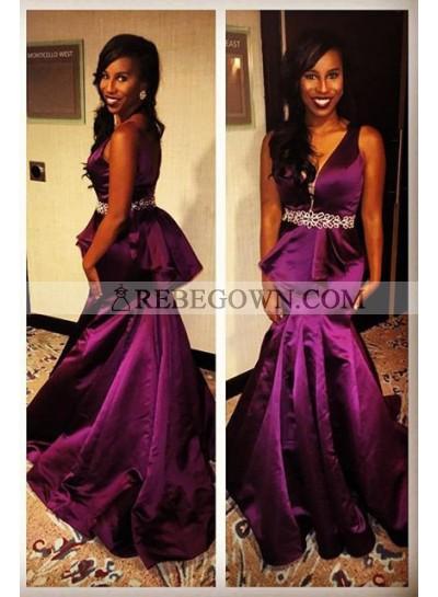 Grape V-Neck Mermaid Satin Prom Dresses
