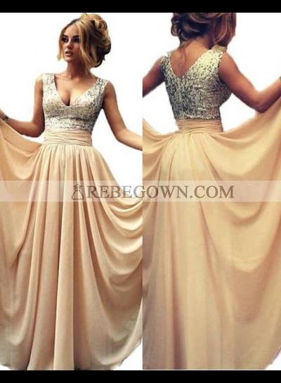 Long Floor length V-Neck A-Line Chiffon Prom Dresses