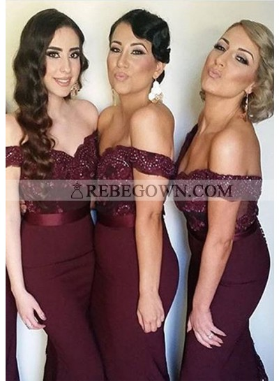 2021 New Arrival Burgundy Mermaid  Off The Shoulder Long Bridesmaid Dresses / Gowns