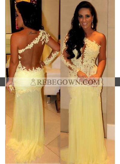 Long Floor length One-Shoulder A-Line Chiffon Prom Dresses