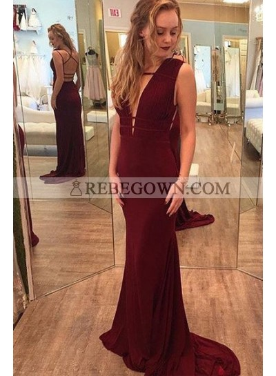 Burgundy Backless Lace-up Column/Sheath Stretch Satin Prom Dresses