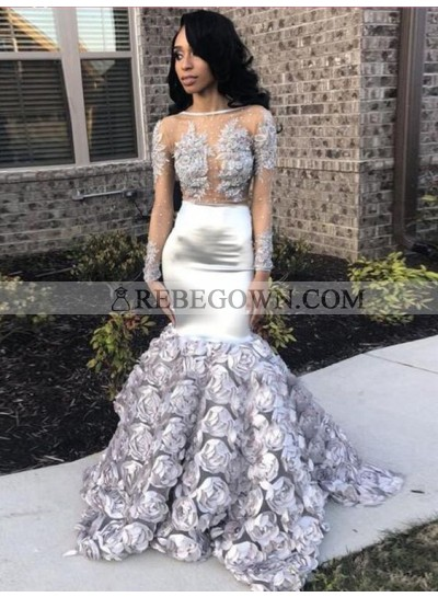 New Arrival Silver Mermaid  Long Sleeves Transparent Rose Decoration Prom Dresses