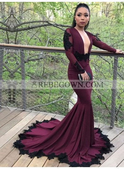 New Arrival Mermaid  Burgundy Long Sleeves Deep V Neck Elastic Satin Prom Dresses With Long Train