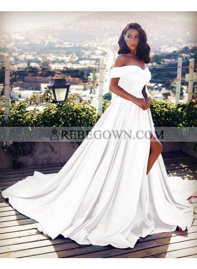 Elegant Off Shoulder White Side Slit Satin Long Train White Prom Dresses
