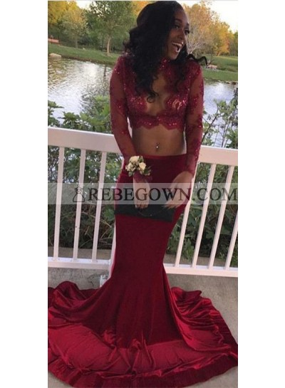 Charming Sweetheart Burgundy Long Sleeves Two Pieces Prom Dresses