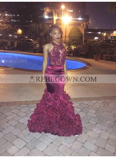 Sexy Rose Pleated Mermaid  Halter Backless Burgundy Prom Dresses 2020