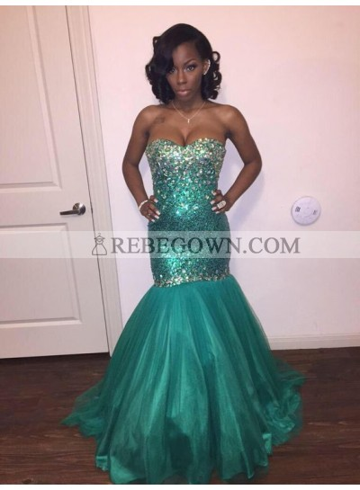 Sexy Green Mermaid  Sequence Tulle Strapless Prom Dresses