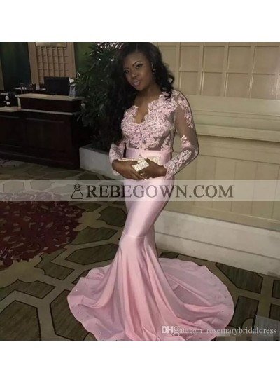 Pink Mermaid  Long Sleeves Appliques Elastic Satin 2020 Prom Dresses