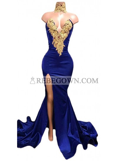 Charming Royal Blue Mermaid  Sweetheart Side Slit Satin Prom Dresses With Gold Appliques