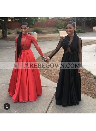 Black A Line Red Long Sleeves See Through Satin Prom Dresses With Appliques