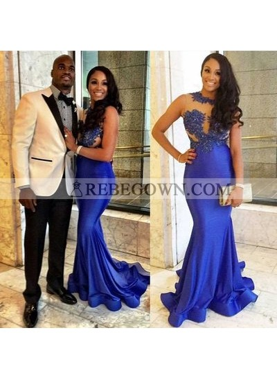 Sexy Mermaid  Royal Blue Satin See Through Appliques Prom Dresses