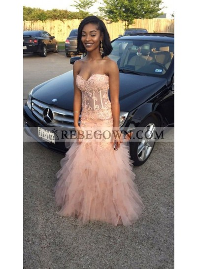 2020 Newly Sheath Sweetheart Blushing Pink Tulle Pleated Prom Dresses