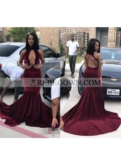 Sexy Deep V Neck Burgundy Velvet Backless Prom Dresses With Long Train