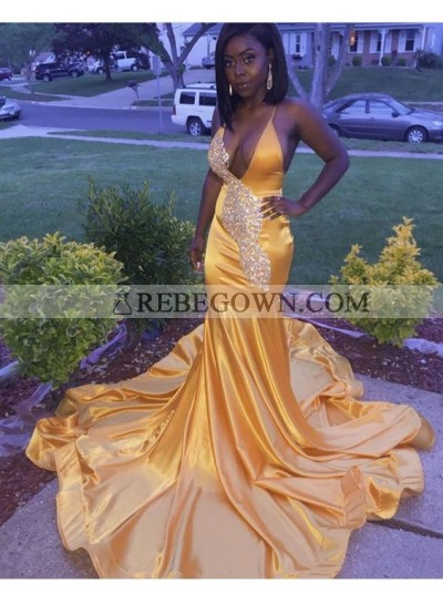Gold Mermaid  Deep V Neck Satin Beaded Halter Prom Dresses With Long Train