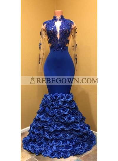 Mermaid  Long Prom Dresses Royal Blue High Neck See Through Long Sleeve African Prom Dresses with Flowers
