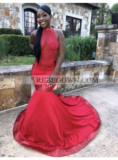 Sexy Red Mermaid  Satin See Through Backless Sequence African Prom Dresses 2021