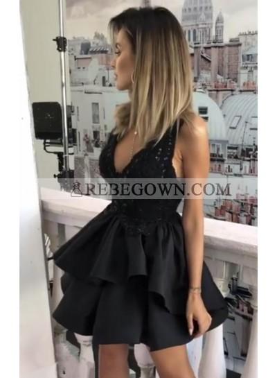 Short Deep V Neck Short Ruffles Satin Short Knee Length Black Prom Dresses