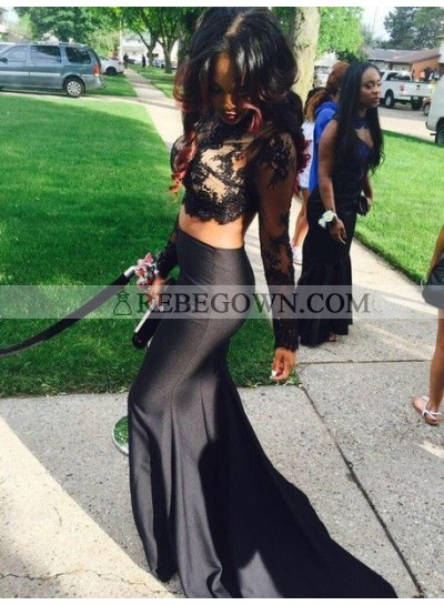 Sexy Black Long Sleeves Lace Two Pieces Mermaid  Prom Dresses