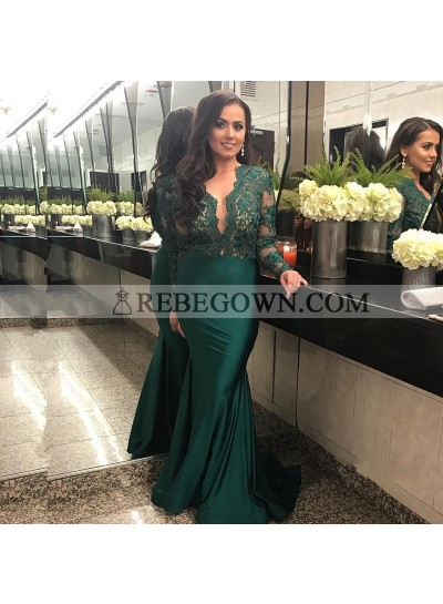Charming Teal Long Sleeves Lace Deep V Neck Elastic Satin Prom Dresses