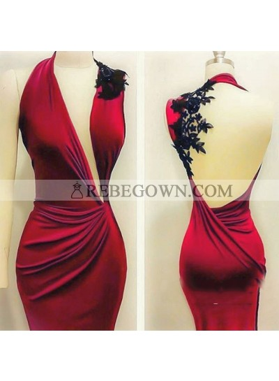 Sexy Mermaid  Red Backless With Appliques Ruffles Long Prom Dresses