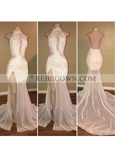 New Arrival Sheath White High Neck Side Slit Lace Backless See Through African Prom Dresses
