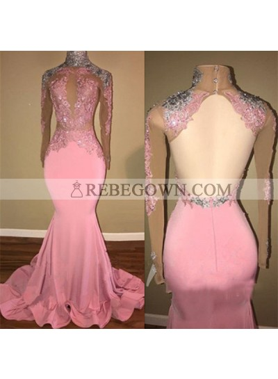 Mermaid  Backless Long Sleeves Pink See Through African Long Prom Dresses