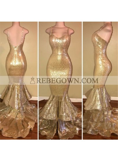 Charming Gold Sequence Spaghetti Straps Sweetheart Ruffles Long Mermaid  Prom Dresses