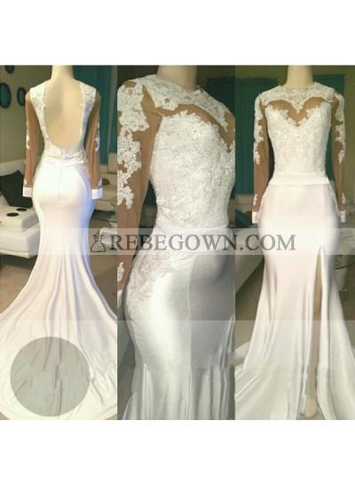 White Sheath Backless See Through Long Sleeves Side Slit Long Prom Dresses 2021