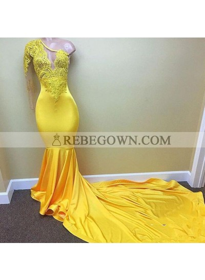 Charming One Shoulder Yellow See Through Mermaid  Long Prom Dresses