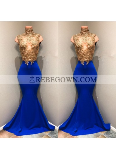 Charming Royal Blue Mermaid  See Through Gold Appliques African Long Prom Dresses