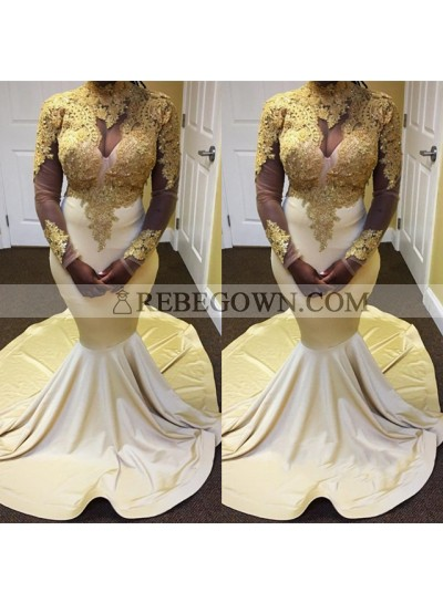 Champagne With Gold Appliques Long Sleeves Satin Mermaid  African Long Prom Dresses