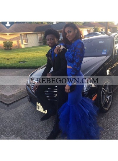 Charming Royal Blue Tulle Long Sleeves Mermaid  Two Pieces African Pleated Lace Prom Dresses