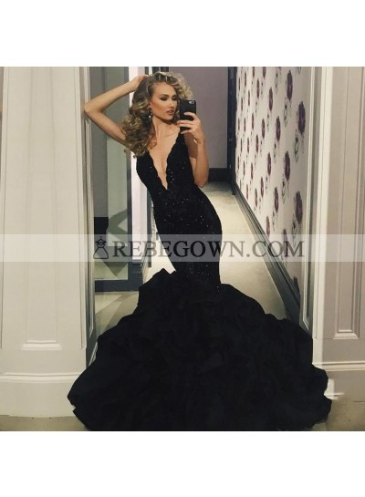 Sexy Black Deep V Neck Mermaid  Ruffles Appliques Long Prom Dresses