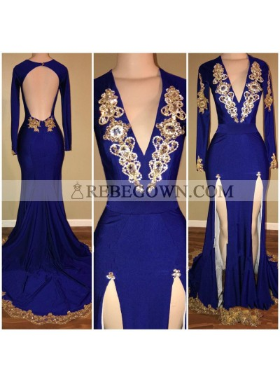 Amazing Royal Blue Sheath Slit Deep V Neck With Gold Beaded Backless Long Sleeves Long Prom Dresses