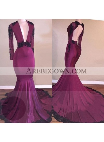 Sexy Burgundy Long Sleeves Elastic Satin Deep V Neck African Backless Long Prom Dresses With Black Appliques