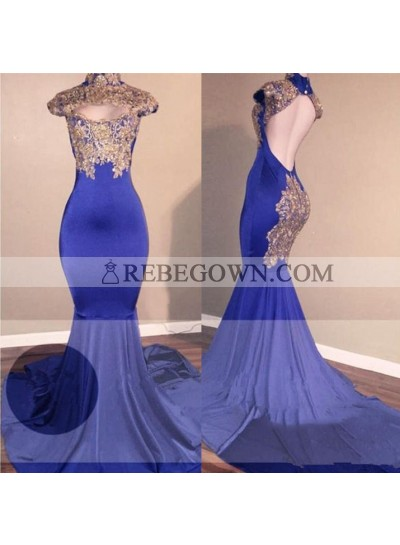 High Quality Mermaid  Royal Blue High Neck Backless Long Sleeves African Prom Dresses With Gold Appliques