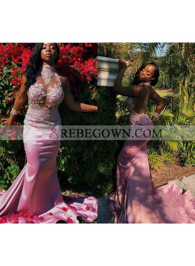 Alluring Mermaid  Pink High Neck African Long Train Backless See Through Prom Dresses