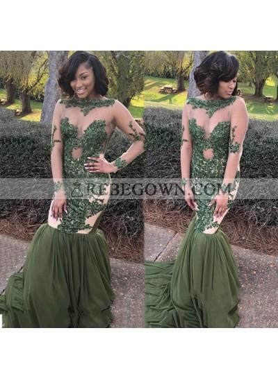 Green Mermaid  Long Sleeves See Through Long Sleeves 2020 African Prom Dresses