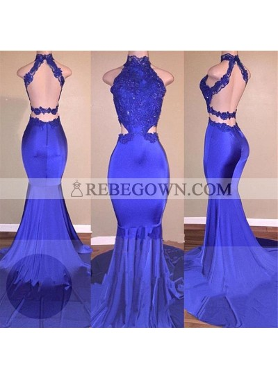 Sexy Mermaid  Royal Blue Backless With Appliques High Neck Long Prom Dresses