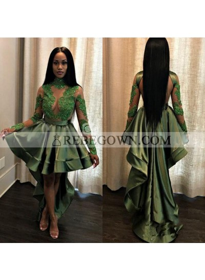 New Arrival A Line Green Backless Long Sleeves High Low Short See Through Prom Dress With Appliques