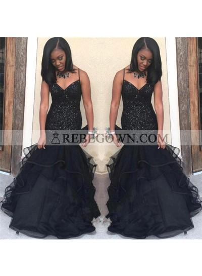 Black Sweetheart Long Tulle Mermaid  Spaghetti Straps Mermaid  African Prom Dresses