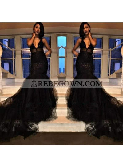 Sexy Black Deep V Neck Backless Tulle Long Train Prom Dresses
