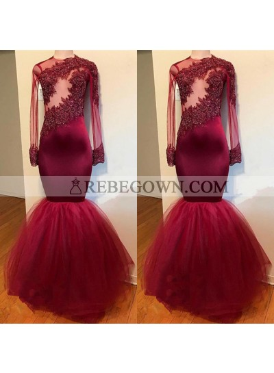 Charming Burgundy Long Sleeves See Through Tulle Mermaid  Prom Dresses